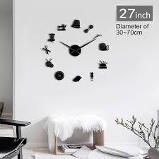Designer Wall Art Us 9 49 5 Off Sewing Instruments Tools Giant Diy Wall Clock Seamstress Designer Mirror Effect Wall Art Room Decor 3d Frameless Clock Watch In Wall