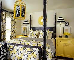 Black And White And Yellow Bedroom - Interior Design
