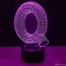 2019 Q Shape 3d Illusion Led Lamp Letters Decoration Light Dc 5v Usb