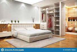 Schlafzimmer Des Modernen Entwurfs Mit Badezimmer Und Wandschrank