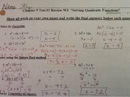 chapter 9 test 1 tomorrow see solving quadratic functions key below
