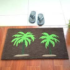 palm tree bath rug set print hallway area carpet