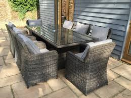 grey rattan dining table. venice 2.35 metre rectangular grey rattan dining table and 8 club chairs set venice-235 oakita