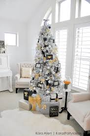 Gold, Black and White striped polka dot Modern Holiday Christmas Tree by  Kara Allen |