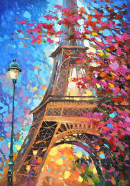 paris autumn palette knife oil painting on canvas by dmitry spiros eiffel tower contemporary art modern artwork cityscape