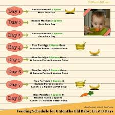What To Feed 6 Month Old Baby Chart Food Chart For 6 Months Old Baby First Week Baby First