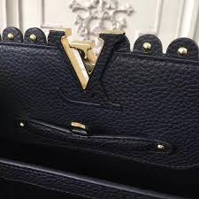 louis vuitton lv capucines pm handbag real leather shoulder bag black m54565