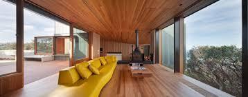 Excellent Beach House in Australia: Wooden Floor Wooden Ceiling Glass Wall  Glass Window Modern Living .