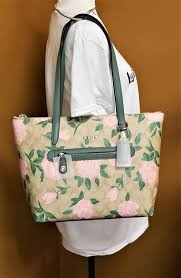 coach camo rose taylor double handle leather tote