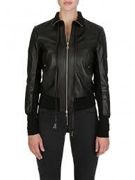 patrizia pepe black logo genuine leather jacket