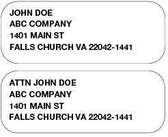 Envelope Format 214 Attention Line Postal Explorer