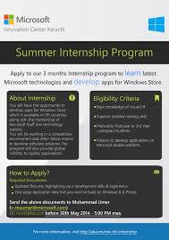 Summer Internship Program 2014 Microsoft Innovation Center Karachi