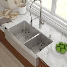 36 x 21 double basin farmhouse kitchen sink with drain assembly