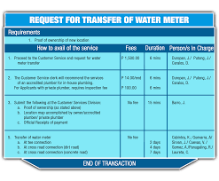 request for transfer of water service digos water district request for transfer of water service