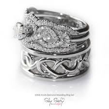 infinity wedding rings. infinity knot wedding rings set.. includes engagement ring with matching band, and men