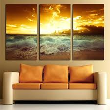 three piece canvas wall art yellow sea landscape canvas painting 3 piece for living wall painting