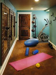 Inspiration for a timeless brown floor home gym remodel in Other with blue  walls