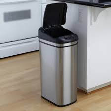 Nine Stars DZT-42-1 Touchless Stainless Steel 11.1 Gallon Trash Can |  Hayneedle