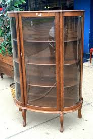 Rare Vintage Tiger Oak Curved Glass Display Cabinet in Excellent ...
