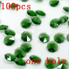 2018 promotion 14mm dark green glass crystal octagon beads in 1 holes for garland strand crystal chandelier accessories parts from stylenew