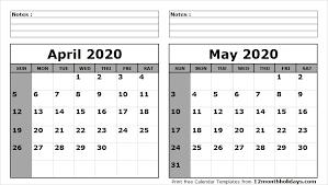 April May 2020 Calendar Printable April May 2020 Calendar Printable All 12 Month Calendar