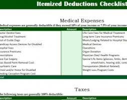 Itemized List Of Expenses Template Itemized Deductions Checklist My Excel Templates