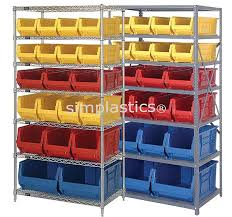 shelving units with parts bins