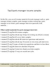 parts manager linkedin top 8 parts manager resume samples parts of a resume