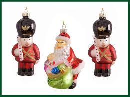 Christbaumschmuck 3er Set Soldat Weihnachtsmann Glas