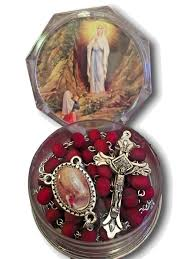 our lady of lourdes rosary matching center case rose scented beads catholic