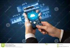 Financial Tracking Hand Using Phone With Financial Tracking Concept Stock Image