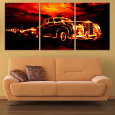 Wall Art Paintings For Living Room Aliexpresscom Buy 3 Pcs Red Sports Car Wall Art Painting Home