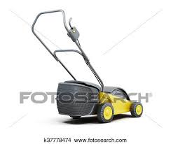 lawnmower drawing. drawing - yellow lawn mower isolated on a white background. electric lawn. fotosearch lawnmower