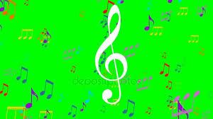Farbige Musik Animation Auf Green Screen Fliegende Bunte Noten