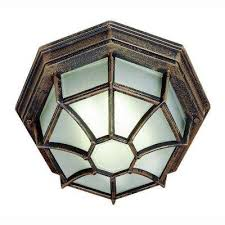 web 1 light outdoor rust ceiling fixture with frosted glass