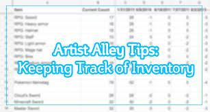 keep track of inventory jojostory arist alley tips keeping track of inventory