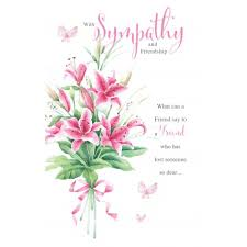 With Sympathy Friendship Flower Design Bright Bereavement Condolence Card Special Days Cards