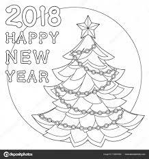 2018 Gelukkig Nieuwjaar Zwartwit Poster Stockvector Bessyana