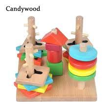 kids wooden toys educational tower game building blocks 5 pillar matching color shape block app interlocking puzzle mind game wooden blocks