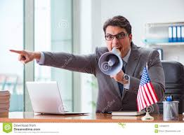 The Businessman With American Flag In Office Stock Image Image Of