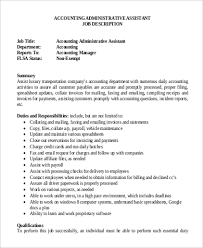 Accounting Assistant Job Description Sample Accounting Assistant Job Description 100 Examples in PDF Word 2