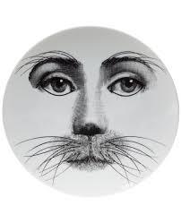 Fornasetti Art Prints Piero Fornasetti Plates Fornasetti Whisker Print Plate White