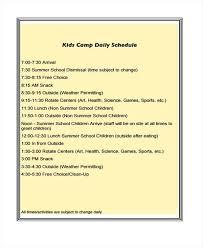 Summer Camp Daily Schedule Template Summer Program Schedule Template Puntogov Co
