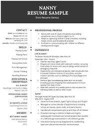 Free Professional Nanny Resume Templates Resume Now Professional