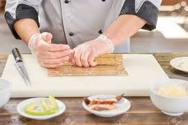 Sushi Cook Chef Hands Shaping Sushi Roll Male Cook Hands Making Japanese