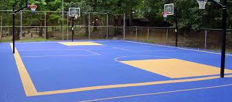 outdoor plastic basketball court tiles blue sport tiles with beige key and borders