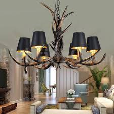 6 light rustic artistic retro antler black vintage chandelier for living room dining room