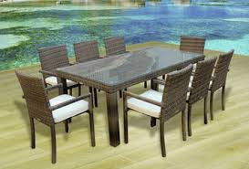 outdoor dining table and chairs. Outdoor Patio Wicker Furniture All Weather New Resin 9-PC Dining Table \u0026 Chair  Set Outdoor Dining Table And Chairs