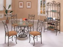 Rod Iron Kitchen Tables Furniture Exotic Classic Marble Trim Dining Sets With Round Glass