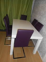 harvey s morano high gloss white table and six alcora chairs in purple